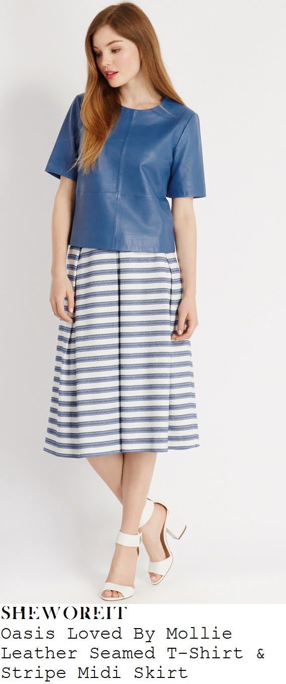 mollie-king-blue-leather-crop-top-t-shirt-and-cream-white-and-blue-striped-pleated-midi-skirt-oasis-edit