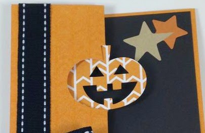 Close To My Heart Artfully Sent Cricut cartridge Jack o'Lantern Swing card closeup