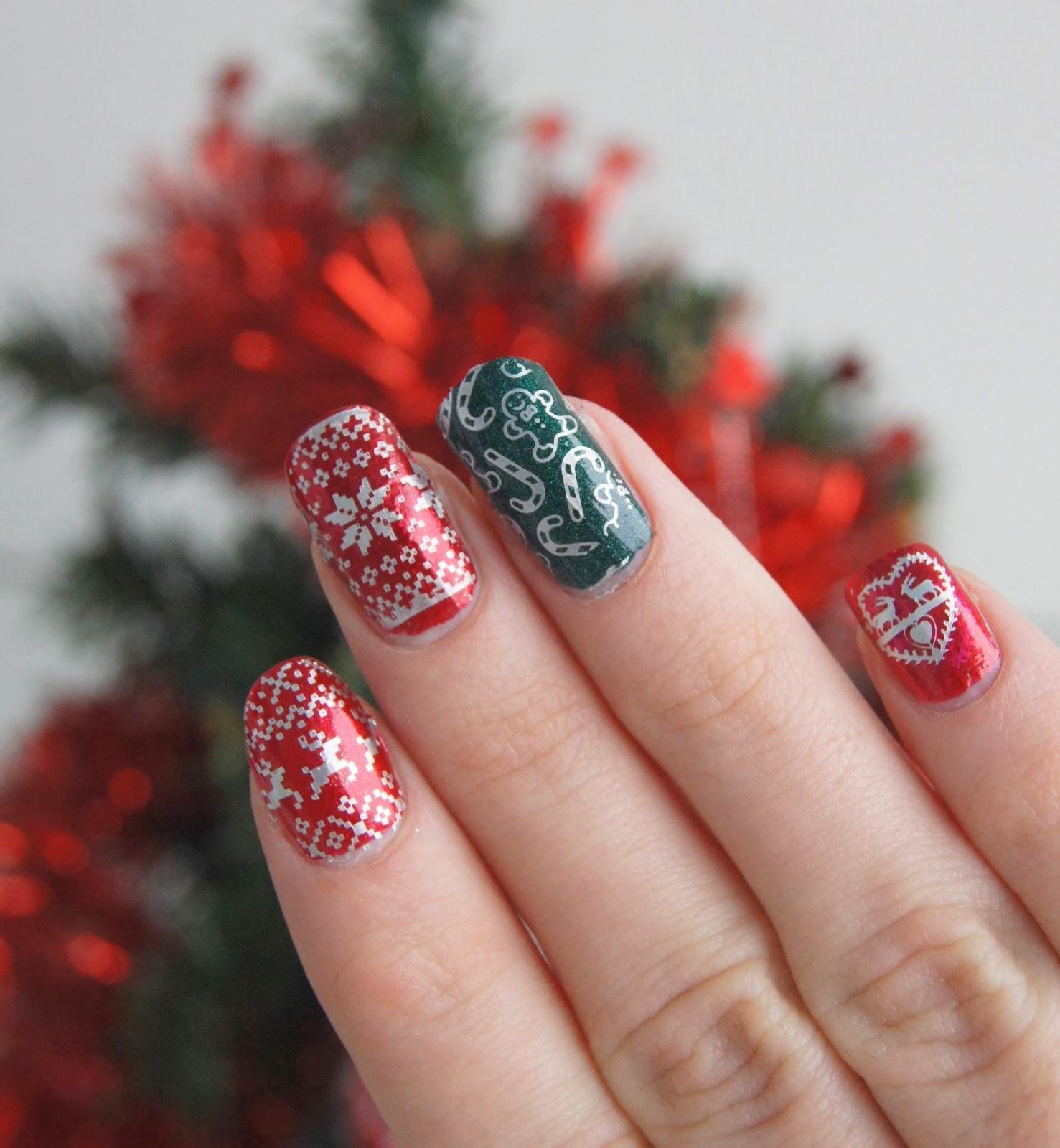 nail art noël rouge et vert
