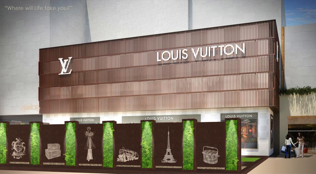 jardín vertical minimalista con biombo vintage Louis Vuitton Cancun, frente, vintage