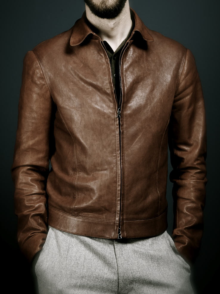 Davide taub bespoke leather bomber jacket in cognac lamb for What is bespoke leather