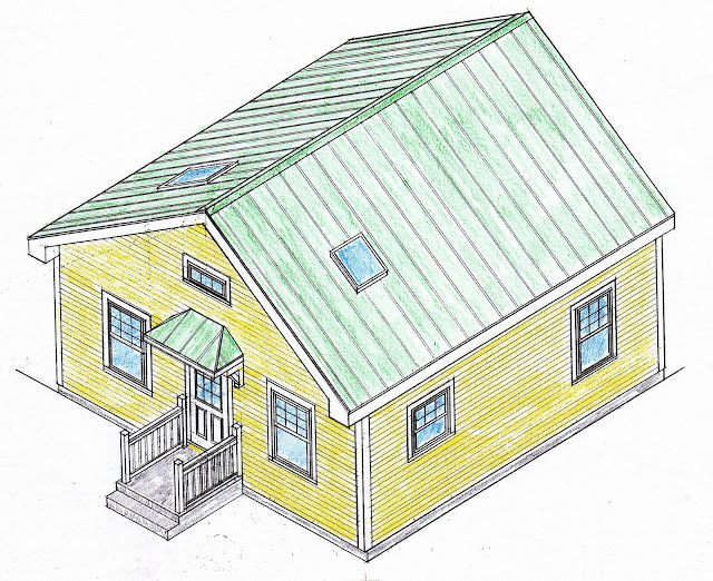 Small scale homes 576 square foot two bedroom house plans for Cost to build a 576 sq ft house
