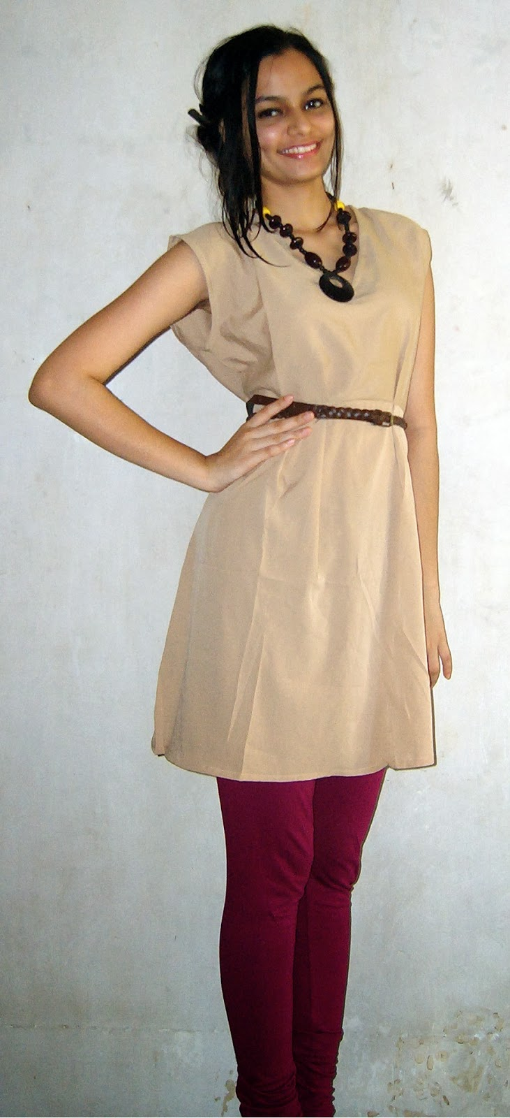 H&M Dress, knee-length shift dress, camel colored dress, fuschia leggings, bohemian look