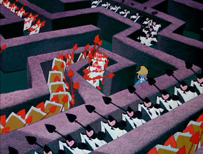 Alice Wonderland Disney animated hedge maze card army