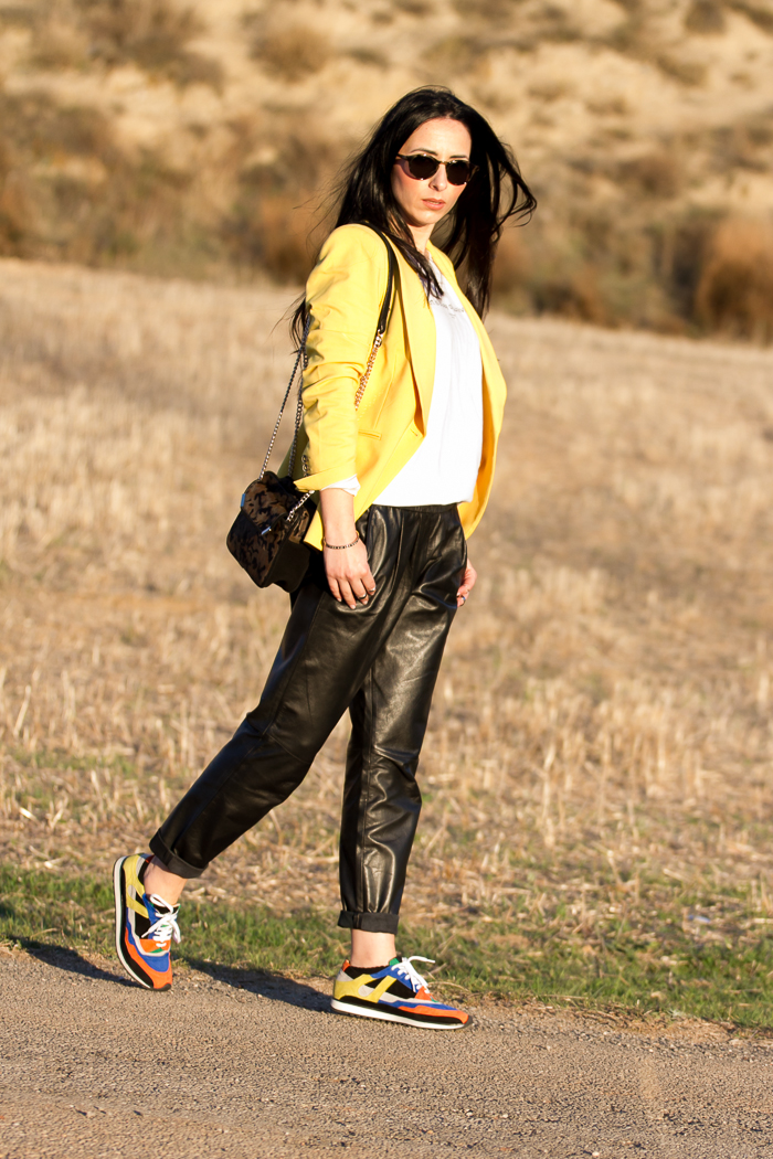 Leather trousers styled in  a comfortable look by fashion blogger withorwithoutshoes
