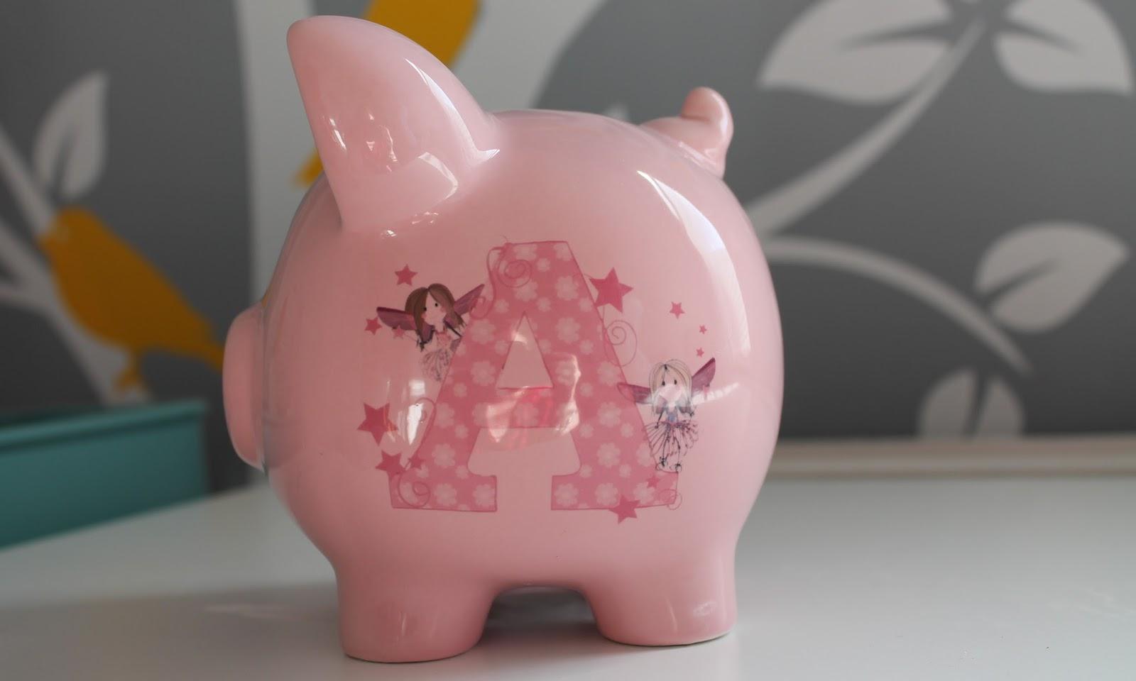 Baby girl personalised piggy bank