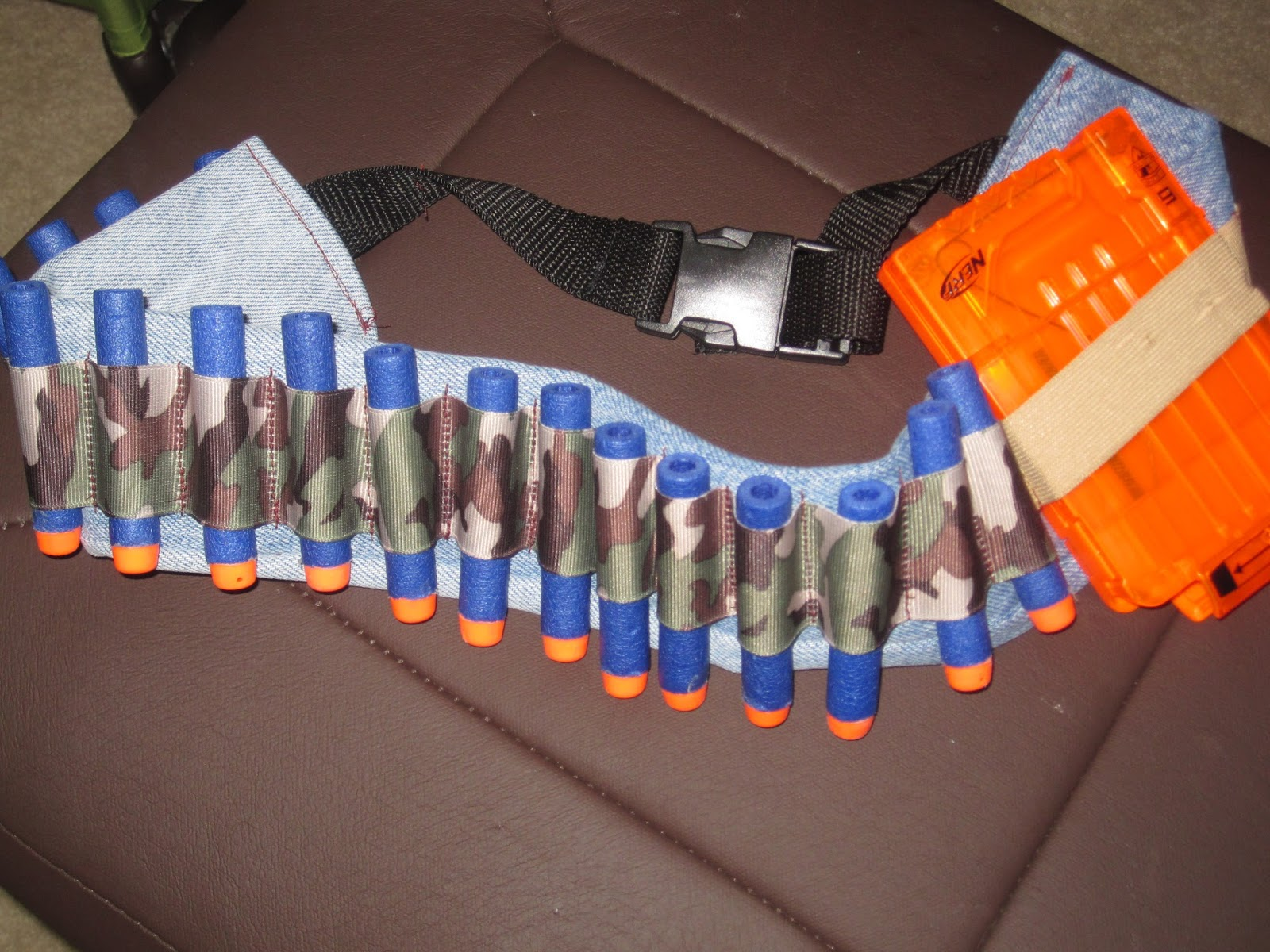 DIY Nerf Dart Ammo Belt with Buckles closures easy project