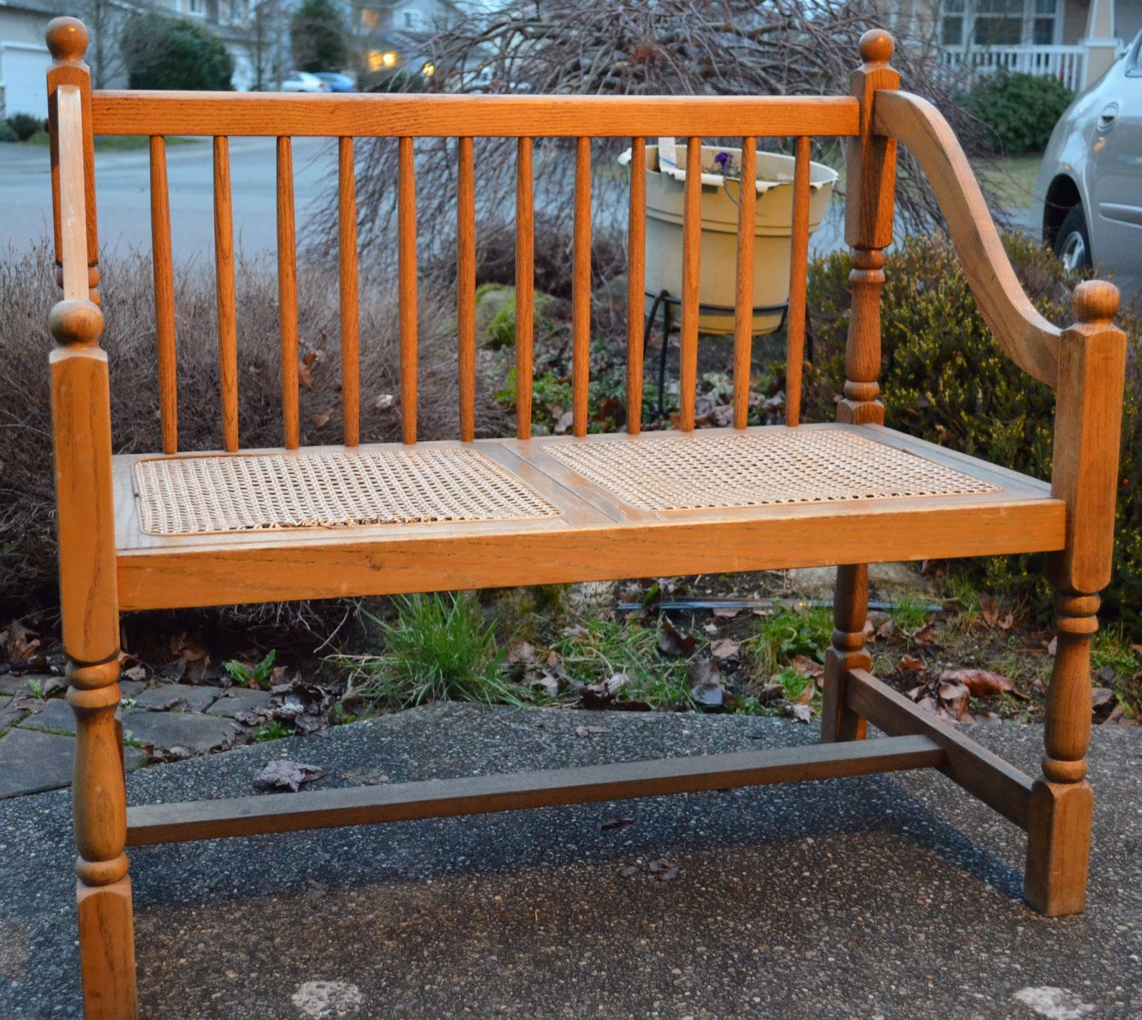 Wicker Seat Bench Vintage Roundabout