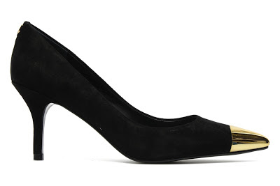 Black court shoes with gold pointed toe cap