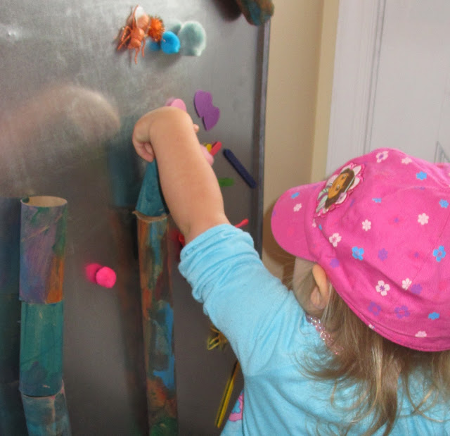 DIY marble run an magnet board for kids