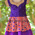 Kundan Work Purple Kids Skirt