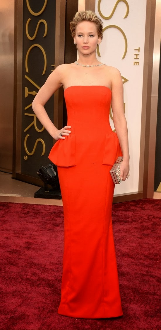 Jennifer Lawrence In Dior gown at 2014 Oscars