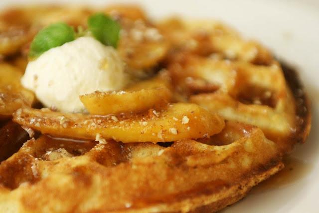 Banana Pecan Belgian Waffle maple syrup