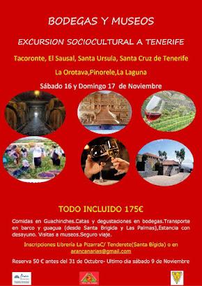 EXCURSION SOCIOCULTURAL A TENERIFE Sábado 16 y Domingo 17 de Noviembre