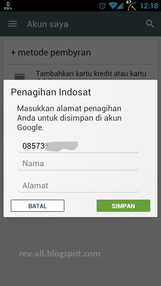 4 Formulir pengisian nama dan alamat (rev-all.blogspot.com) cara menambahkan tagihan akun indosat di playstore Android