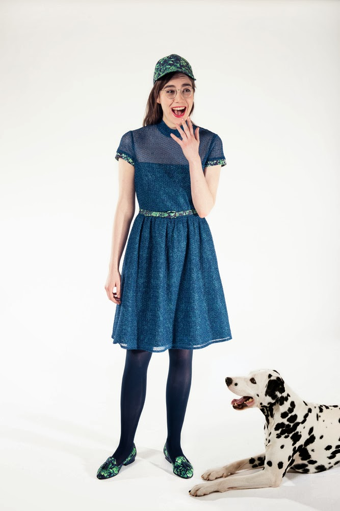 Rachel Antonoff, Fall 2013 collection, blue dress, dalmatian, flare skirt, A Coin For the Well