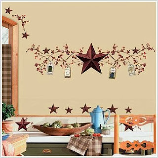 Country Stars and Berries Peel & Stick Wall Decals, 40 Count