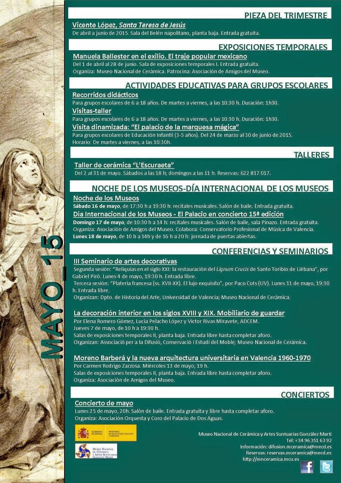 PROGRAMACIÓN DE MAYO 2015 MUSEO NACIONAL DE CERÁMICA