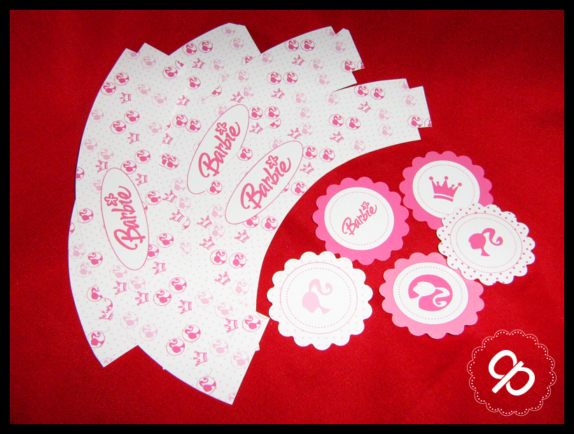 Toppers Y Wrappers Para Cupcakes   Barbie
