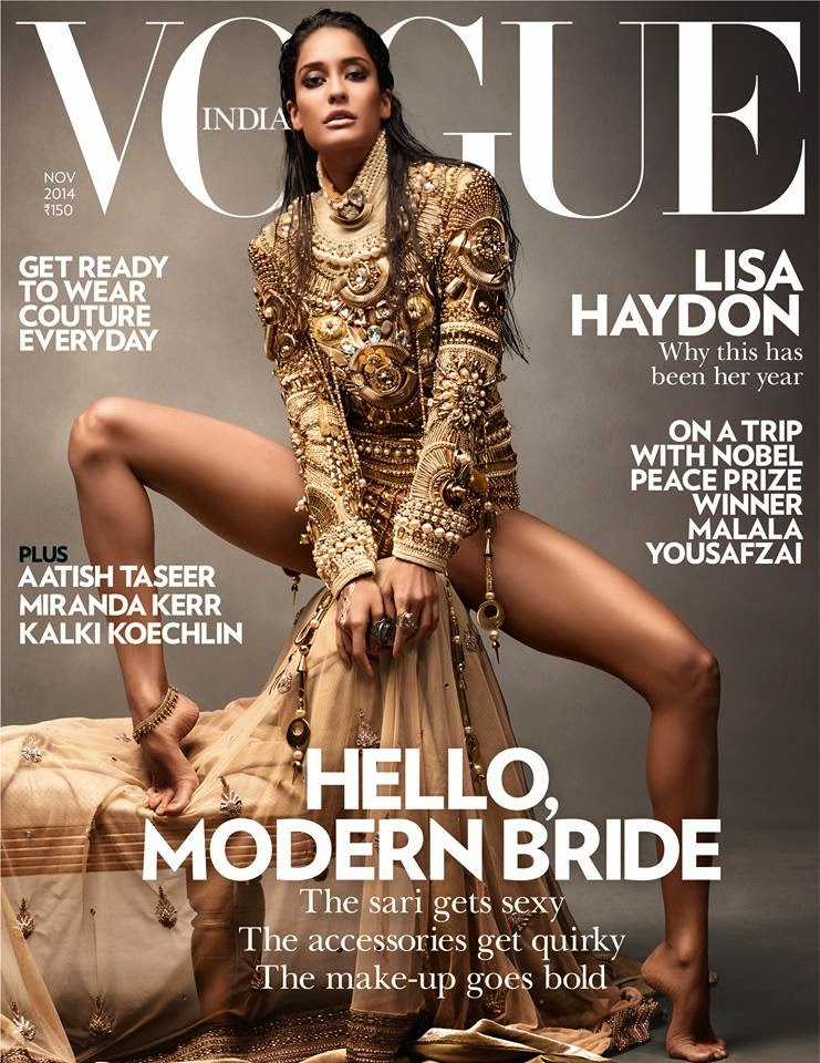 Lisa Haydon transforms into a modern bride in Manish Arora for the November Vogue India  issue