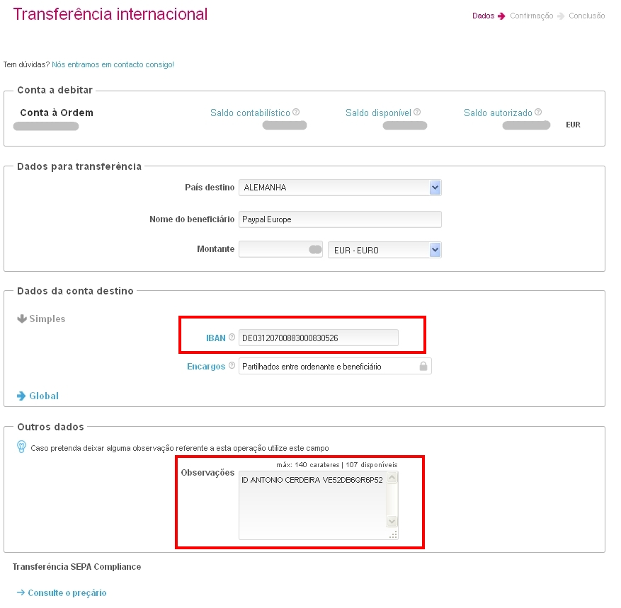 Tertuliado do fado paypal transferencia bancaria for Transferencia bancaria