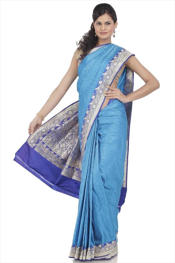Blue Moon Satin Banarasi Saree