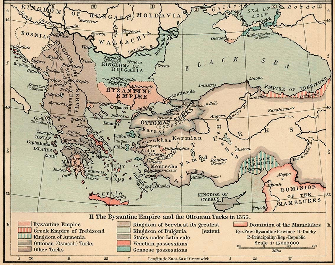 map of the byzantine empire in 1355