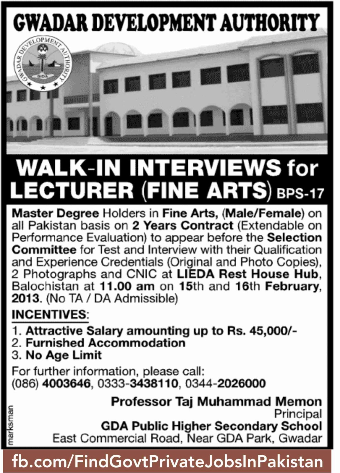 gwadar development authority job ads