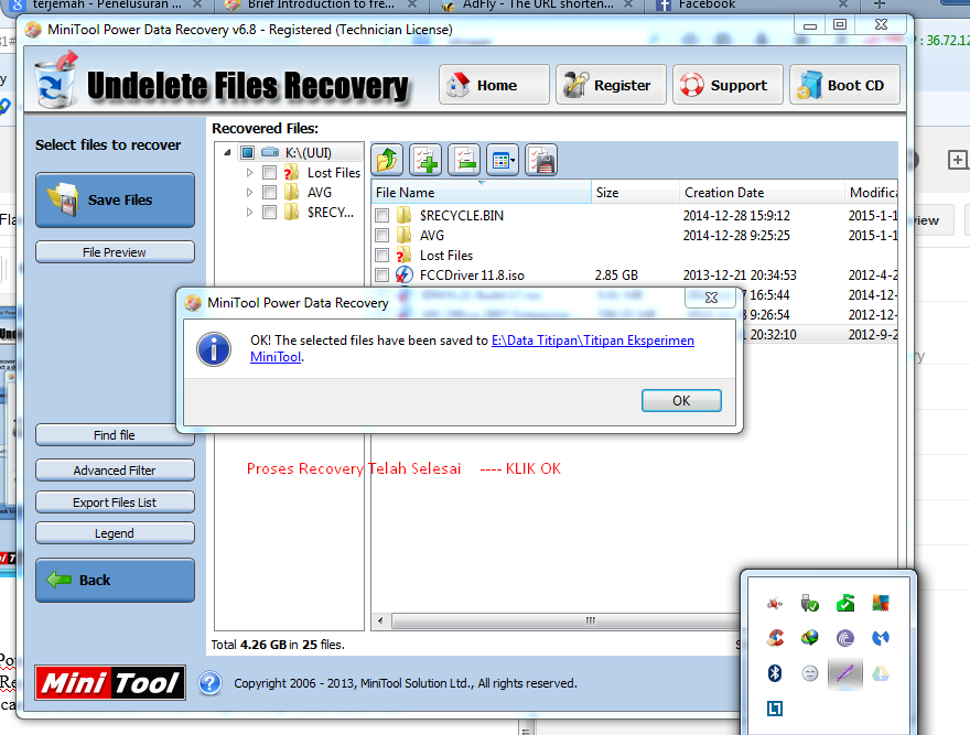 Proses Recovery MiniTool Power Data Recovery 6.8
