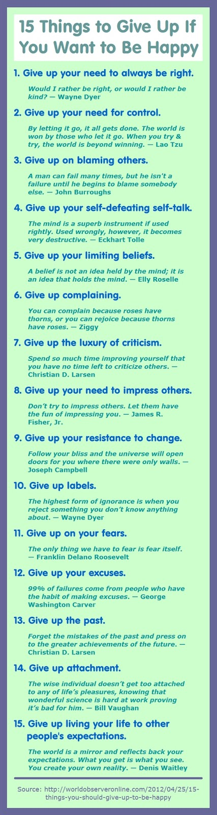 15 things to give up if you want to be happy - QUOTES and ...