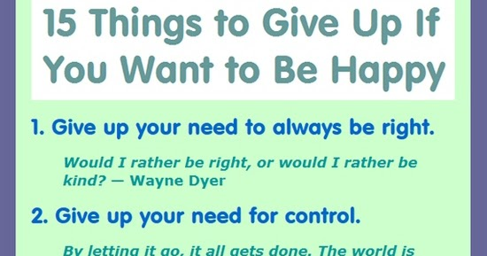 15 things to give up if you want to be happy QUOTES and