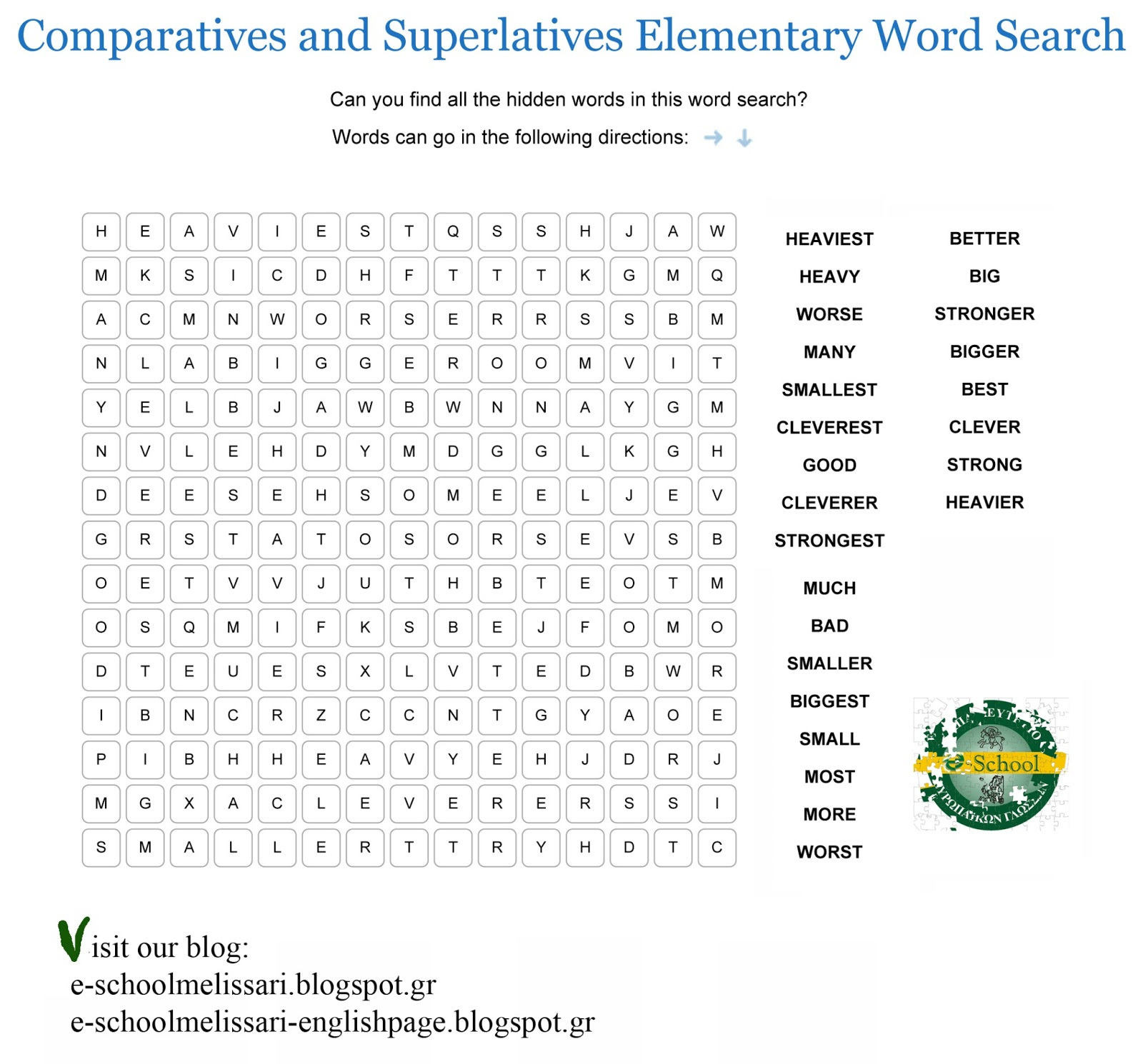 worksheet Comparative Superlative Worksheet comparatives and superlatives worksheets for kids abitlikethis elementary word search