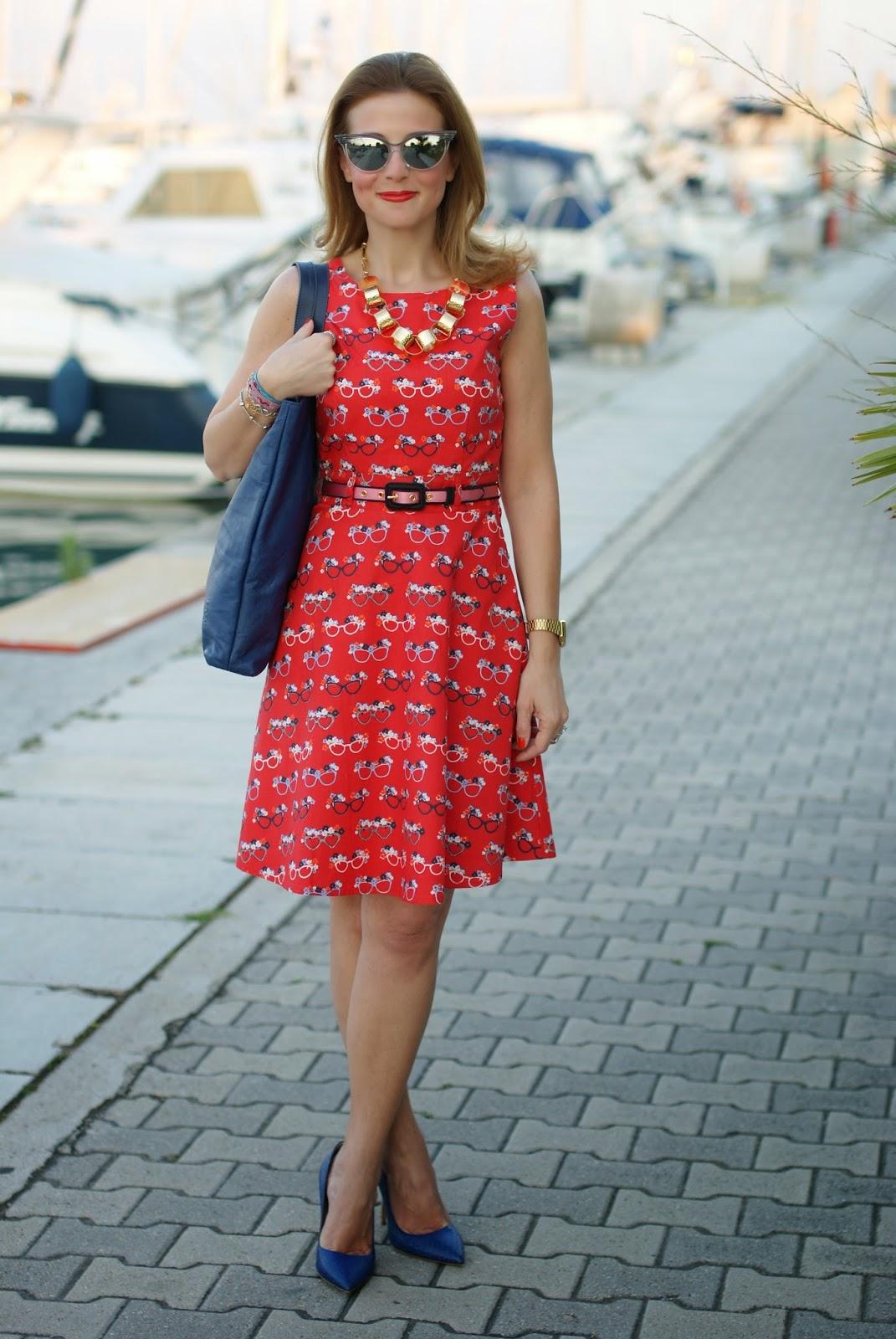 glasses print dress, sergio levantesi shoes, vitti ferria contin necklace, Fashion and Cookies, fashion blogger