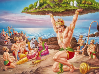 ) Hanuman carrying a mountain peak of herbs to Lanka. The herbs heal the wounded monkeys and beard and bring the dead hack to life.
