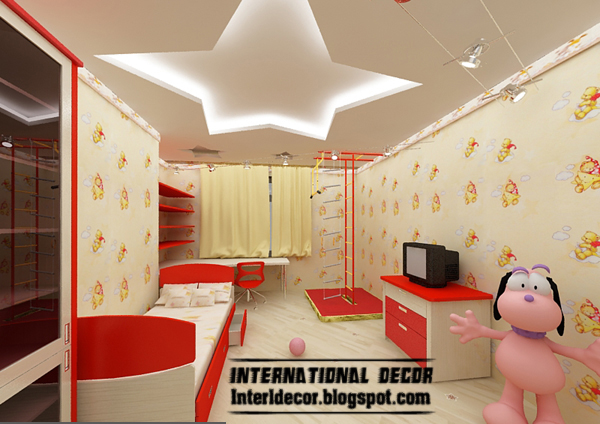 Best creative kids room ceilings design ideas, cool false ceiling with LED lights