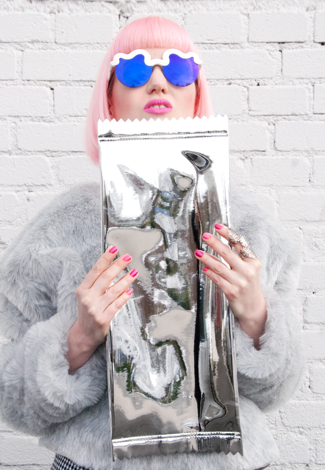 silver clutch, metallic, futuristic look