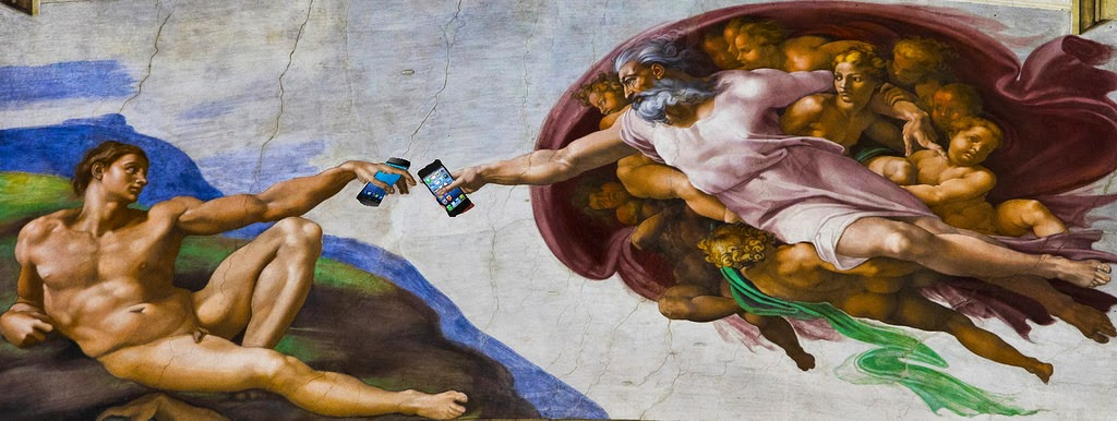 God and Adam take selfies by Dennis Redfield