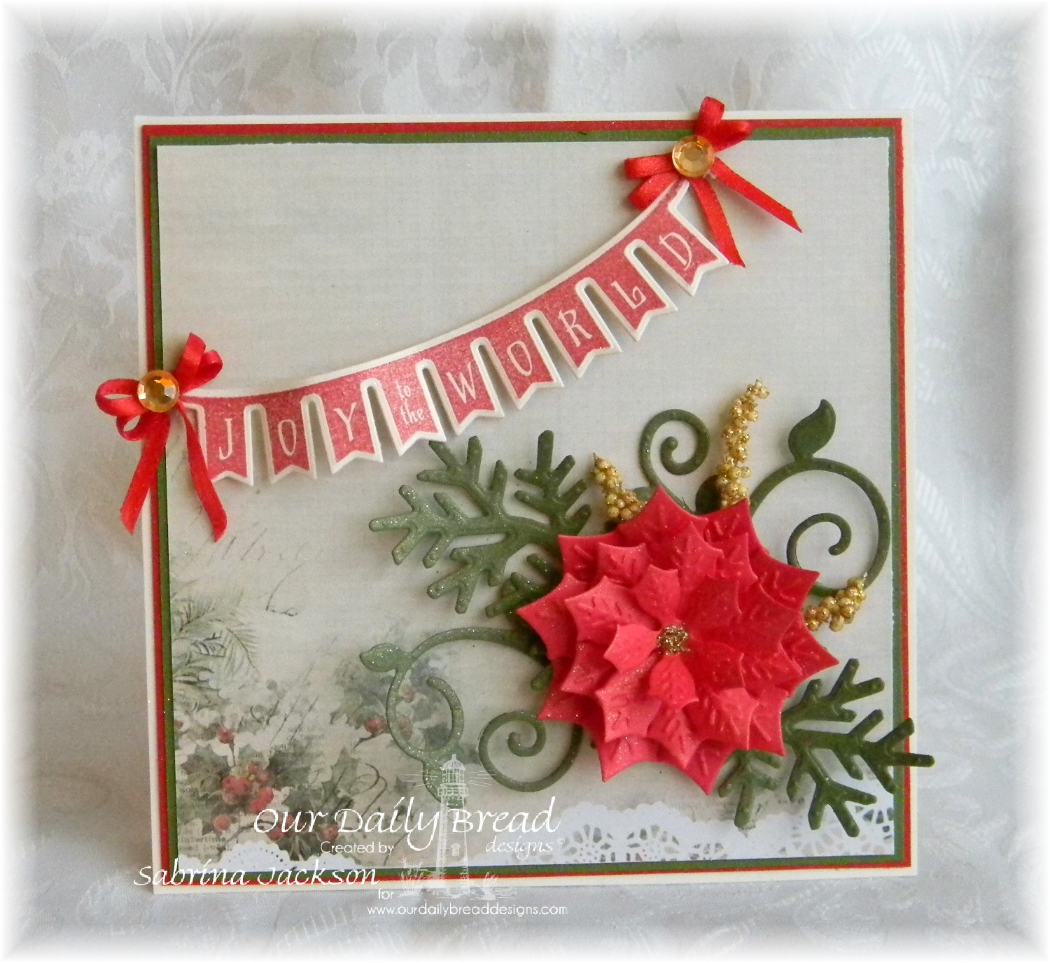 Stamps - Our Daily Bread Designs Christmas Pennant Swag, ODBD Custom Peaceful Poinsettias Die, ODBD Custom Fancy Foliage Die, ODBD Custom Pennant Swag Die