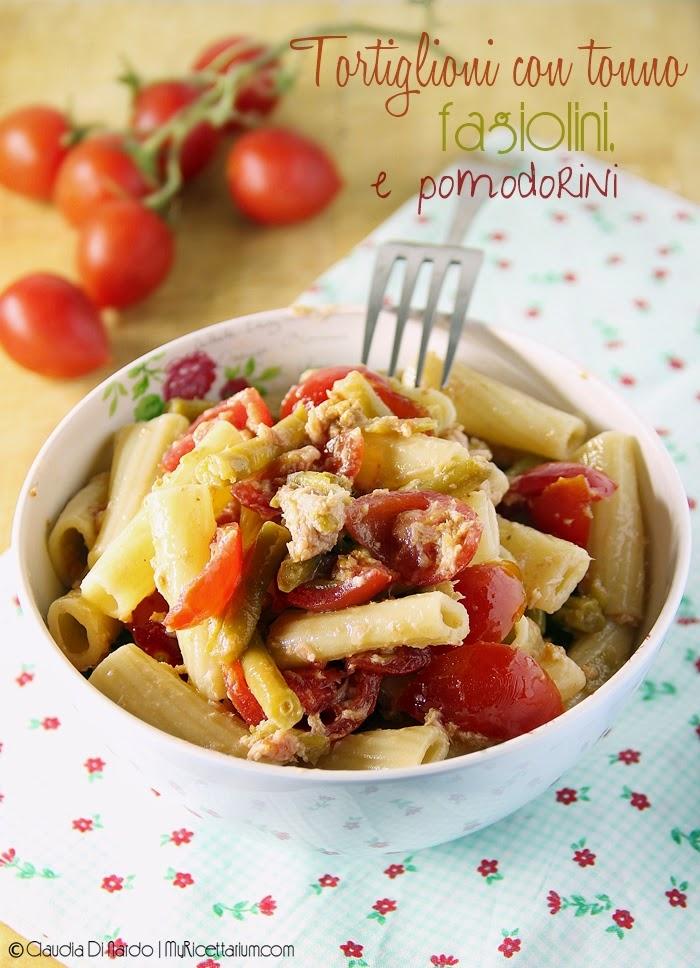 Tortiglioni con tonno, fagiolini e pomodorini