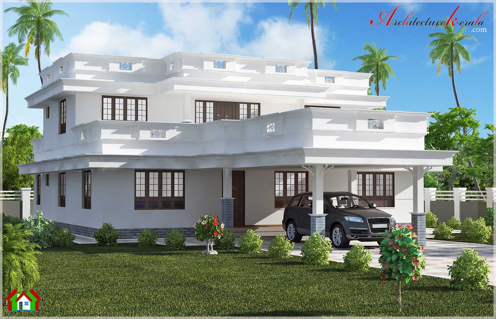Beautiful flat roof home design architecture kerala for Home designs kerala architects