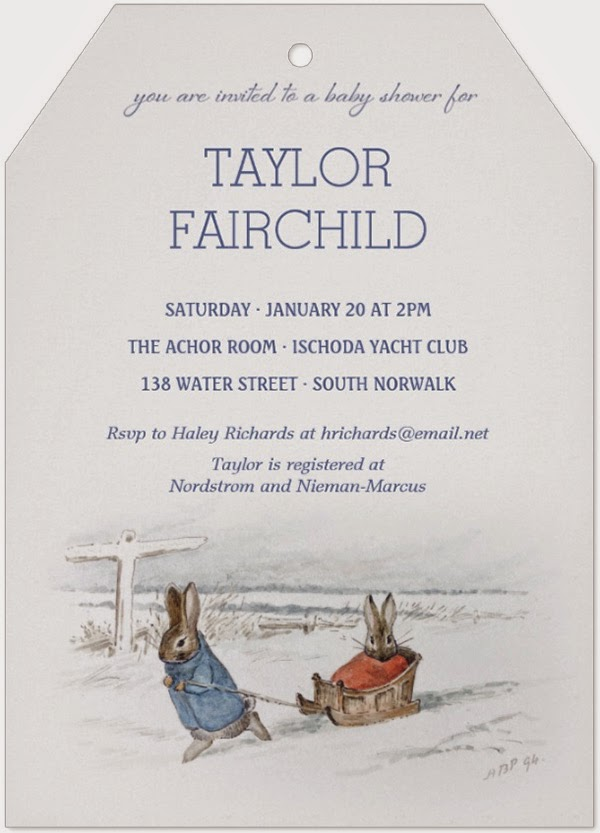 Beatrix Potter Rabbits Sledding Winter Baby Shower Invitations