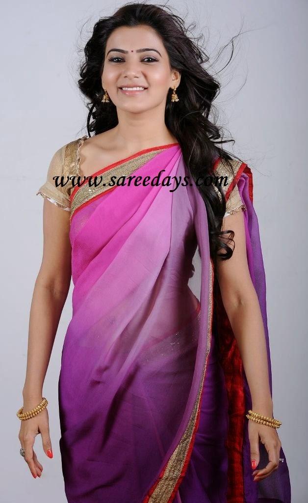 Latest saree designs samantha in pink and lavender crepe saree samantha in pink and lavender crepe saree altavistaventures Images
