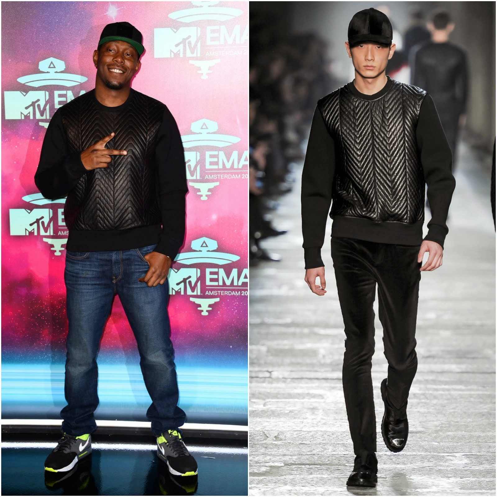 Dizzee Rascal in Neil Barrett woven leather neoprene sweatshirt - MTV EMA's 2013