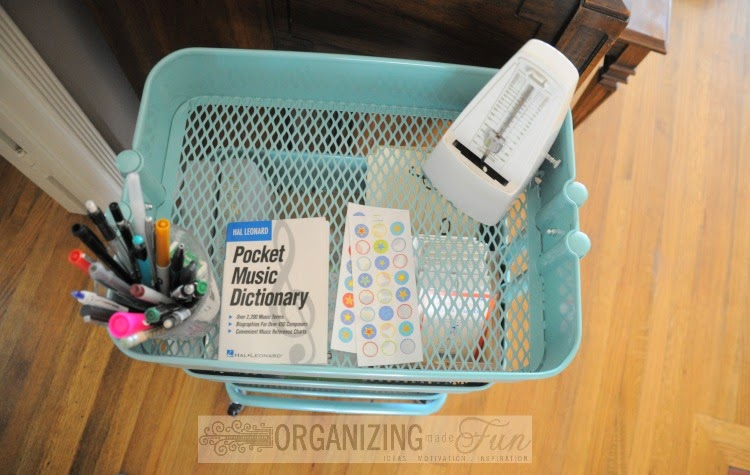 Cute, Organized Ikea Raskög Cart top shelf :: OrganizingMadeFun.com