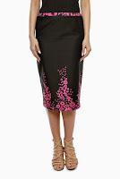 Fusta neagra din bumbac cu imprimeu floral SR04CD (Ama Fashion)