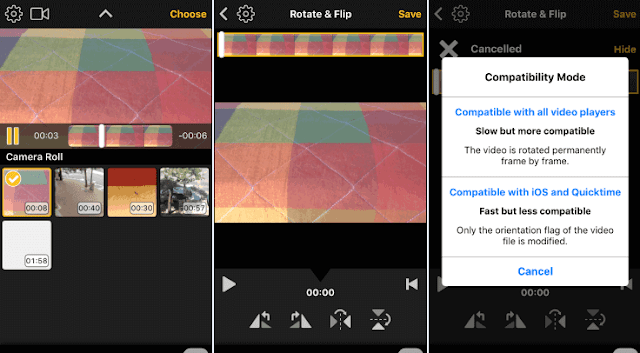 Ruotare video su iPhone app Video Rotate & Flip