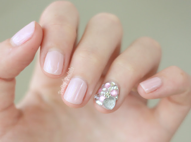 China Glaze Innocence pale pink nail polish and rhinestone manicure