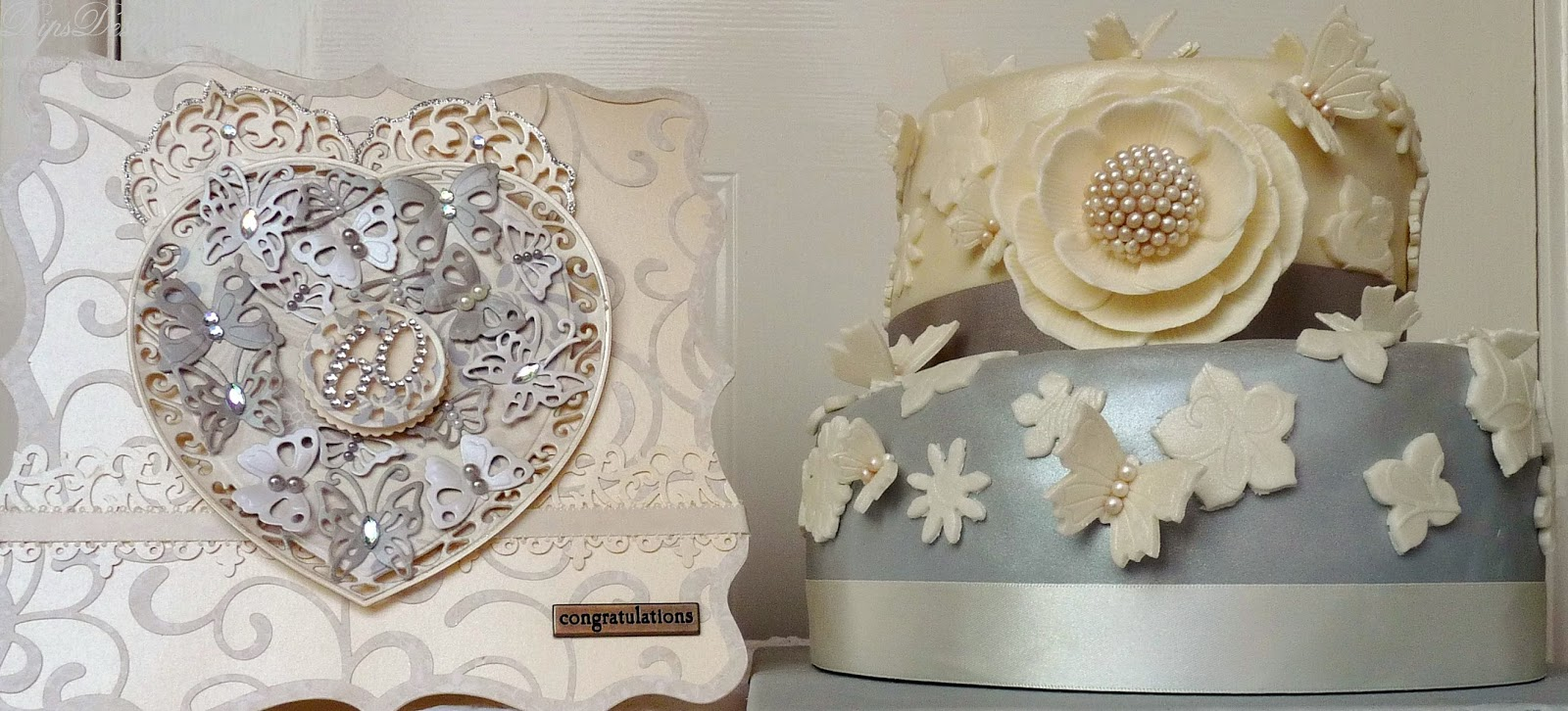 Platinum & Ivory Diamond Wedding Anniversary Cake and Card