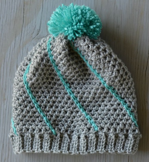 Diagonal Hatch Slouchy Hat - Free Pattern