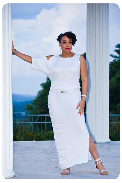 white cotton drapey dress